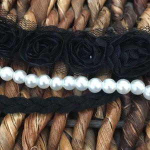 Accessories - Cute 3 band braided black pearl & floral headband